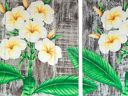 Seestern 3 teiliges handbemaltes holz wandbild wanddeko frangipani bl ten motiv ebay - Wandbild orientalisch ...
