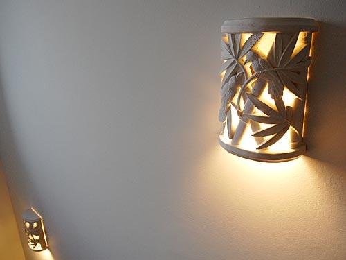 SEESTERN Wand Lampenschirm Abdeckung aus Steinguss Tropische Motive 30x20cm