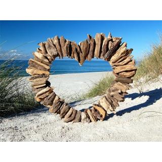 seestern treibholz deko mit herz 60 cm motiv wanddeko driftwood h. Black Bedroom Furniture Sets. Home Design Ideas