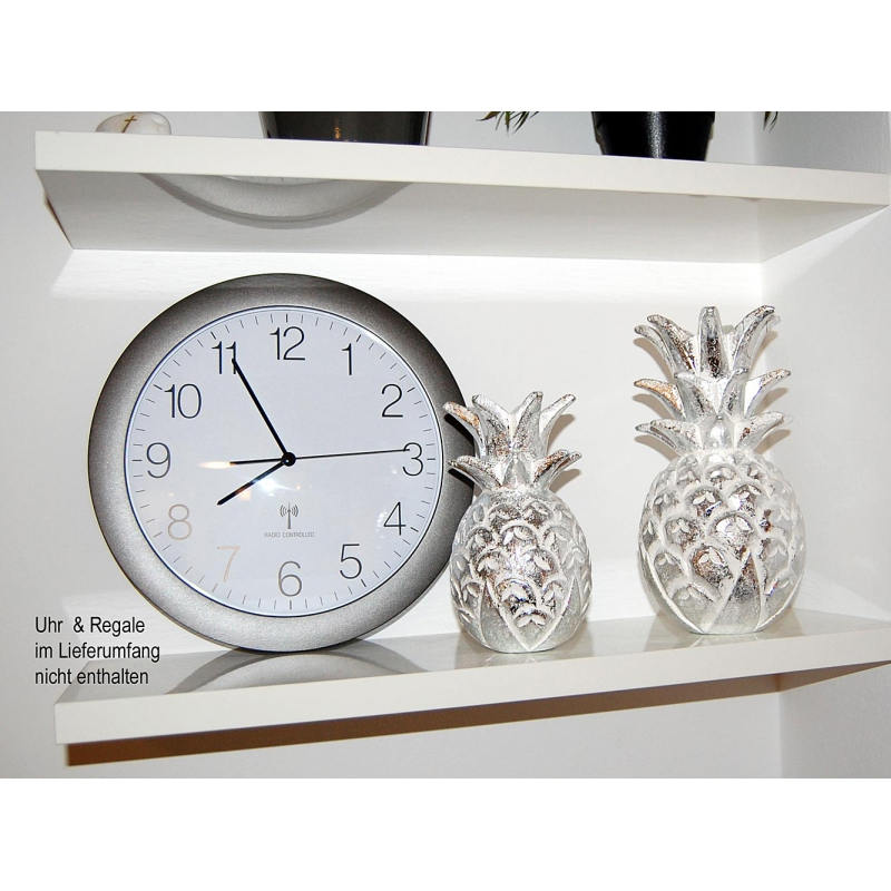 seestern holz deko ananas handgeschnitzt silber lackiert 20 25 30cm o. Black Bedroom Furniture Sets. Home Design Ideas