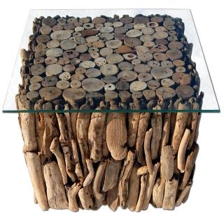 SEESTERN Treibholz Beistell Tisch Incl. Glasplatte Driftwood H/B/T  40x45x45cm /1633